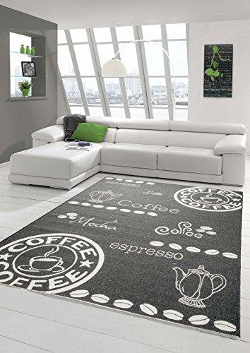 Traum Teppich Modern Flachgewebe Sisal Optik Küchenteppich Küchenläufer Coffee Schwarz Weiss Größe 80x200 cm