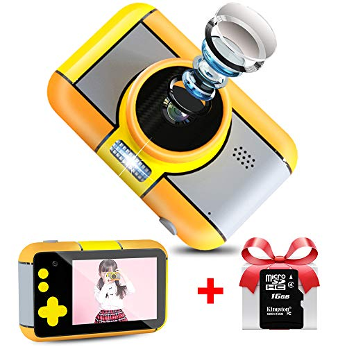 WUBUMIM Kids Digital Video Camera Best Birthday Gifts for Girls Age 3-7 , Rechargeable Kids Camera Shockproof 8MP HD Video Cameras Great Gift Mini Child Camcorder (Pink) (Yellow)