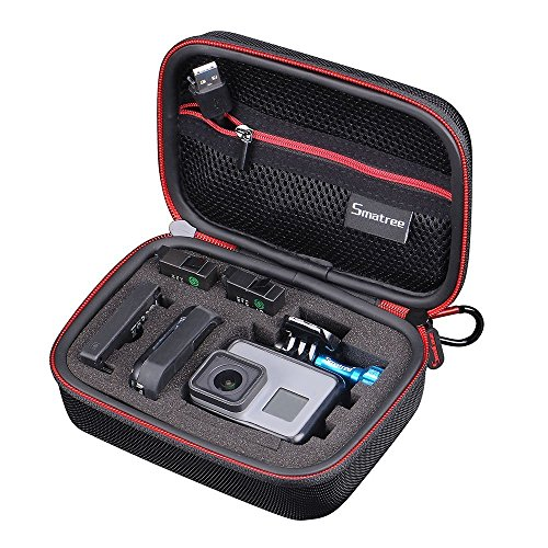 Smatree Carrying Case Compatible for GoPro Hero 8/7/6/5/4/3+/3/2/1/GOPRO HERO (2018)/DJI Osmo Action(Black & Red)-Extra-Small
