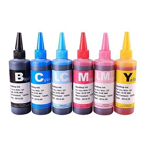 6 Colors Bulk Refill Ink Set For Epson Photo Stylus 1400 Artisan 1430...