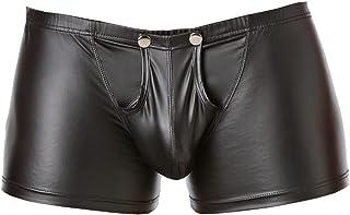 Latexachtige herenshorts - vinyl wetlook shorts met sluiting