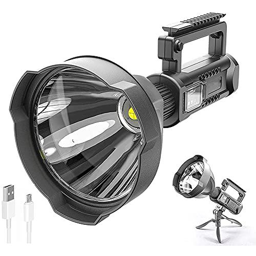 90000 Lumen LED Super Bright Searchlight,Rechargeable Spotlight Flashlight High Lumens,Rechargeable LED Spotlight Flashlights (W591-P70 lamp beads)