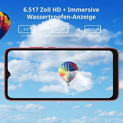 Blackview A70 (E) Android 11 Smartphone ohne Vertrag, 6.517 Zoll HD mit 5.380mAh Batterie, 3GB RAM+32GB Speicher Octa-core, 13MP+5MP Kamera, Fingerabdruck Sensor, 4G Handy Dual SIM Rot - 5