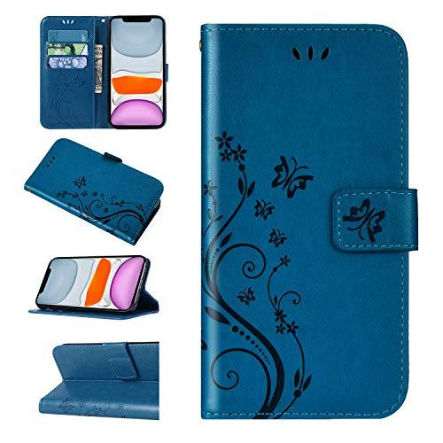 Urhause Kompatibel mit Huawei Honor 7C Hülle Spitzenblume Gedruckt Leder PU Handyhülle Magnetverschluss Standfunktion Handytasche Brieftasche CXHTasche Kartenfach Etui Wallet Lederhülle Case, Blau