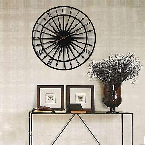 L.J.JZDY wandklok met klank gesneden, robuust, eenvoudige kleur, decoratieve wandklok, wandklok, 50 x 50 cm