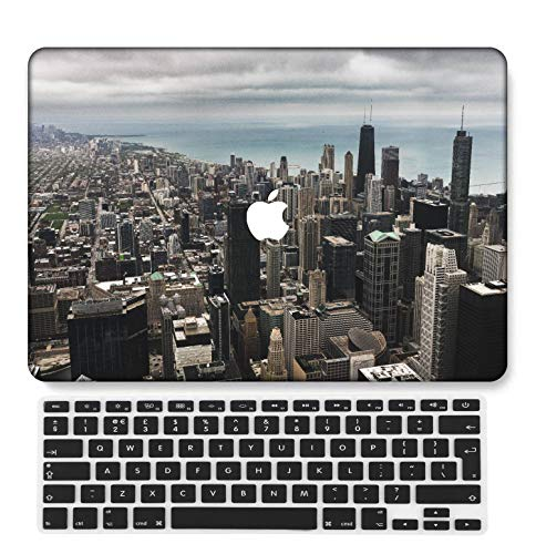GangdaoCase Plastic Ultra Slim Light Hard Shell Case Cut Out Design Compatible New MacBook Pro 15 inch with Touch Bar/Touch ID with UK Keyboard Cover A1707/A1990 (Sky Series 0478)