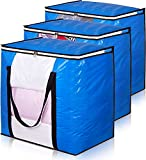 MISSLO Waterproof Large Blanket Storage Heavy Duty Moving Bags with Zippers and Reinforced Handles for Comforter, Pillow, bedding, Quilt, Duvet, Carrying, Travelling, College Dorm, Clothes Organizer Pack Supplies 3 Packs
