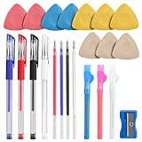 Tailors Chalk,Sewing Fabric Markers and Tracing Tools,10PCS Tailor's Chalk,4PCS Heat Erasable Fabric Marking Pens with 4 Refills,3 PCS Sewing Fabric Pencils