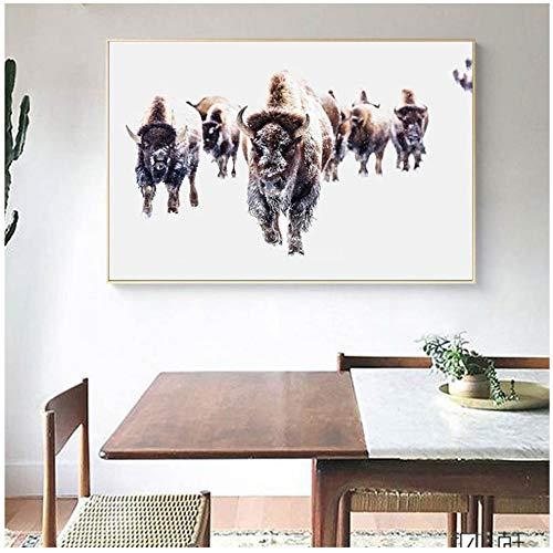Jin Yi Global Canvas Schilderij Hert buffel Uil Afbeelding Slaapkamer Poster Wandkunst Dierenafdrukken voor woonkamer Home Decoration 50x70cm Geen lijst
