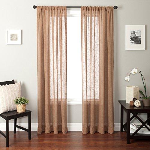 Softline Louvre Open Weave Window Sheer/Panel/Curtain/Drape/Treatment, Almond, 55