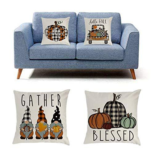 NAIXUE Juego de 4 fundas de almohada de otoño, decoración de granja de Acción de Gracias Buffalo Check Plaid Gnomos calabaza al aire libre Otoño Almohadas decorativas
