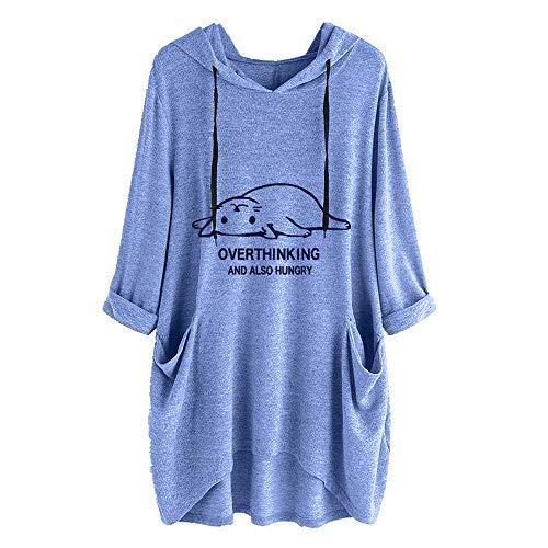 Nobrand Damen T-Shirt mit Kapuze, für Frühling und Herbst, Größe L, bedruckt, unregelmäßiges Top Gr. Large, blau