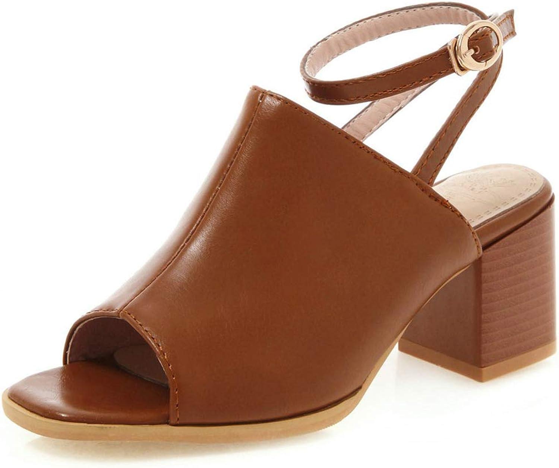 SaraIris Women's Open Toe Chunky High Heel Slingback Buckle Strap Booties
