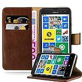 Cadorabo Hülle für Nokia Lumia 625 in Terra BRAUN – Handyhülle mit Magnetverschluss, Standfunktion & Kartenfach – Hülle Cover Schutzhülle Etui Tasche Book Klapp Style
