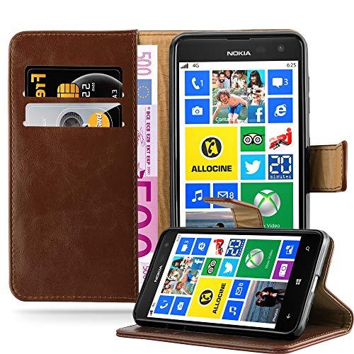 Cadorabo Hülle für Nokia Lumia 625 - Hülle in Terra BRAUN – Handyhülle im Luxury Design mit Kartenfach & Standfunktion - Case Cover Schutzhülle Etui Tasche Book