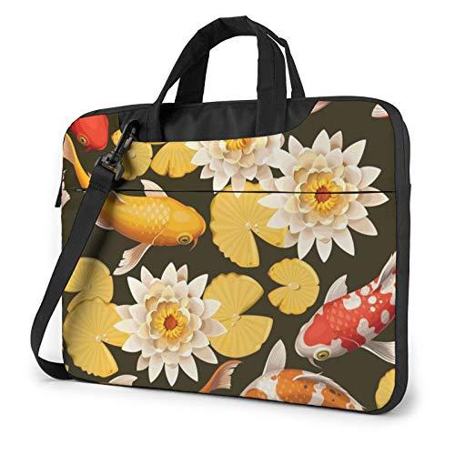Laptop Shoulder Bag - Koi Carps Fish and Lotus Printed Shockproof Waterproof Laptop Shoulder Backpack Bag Briefcase 15.6 Inch
