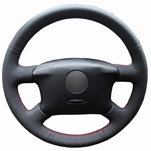BAWAQAF FundaNegra de PUCosida a Mano para Volante de Coche, para Volkswagen Passat B5 Golf 4 1996-2005 Seat Alhambra 2001-2009