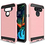 Wtiaw Compatible with LG K50 Case,LG Q60 Cases,LG K50 Phone Case,LG Q60 Phone Case,TPU+PC Material Brushed Metal Texture Hybrid Dual Layer Defender Phone Case for LG K50-CL Rose Gold
