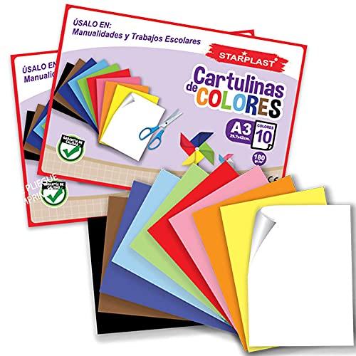BLOCS CARTULINAS DE COLOTES STARPLAST - Pack 2 Blocs de Cartulinas, 20 Hojas A3, 180gr/m² para Manualidades, scrapbooking o Diseños - 10 Colores Claros