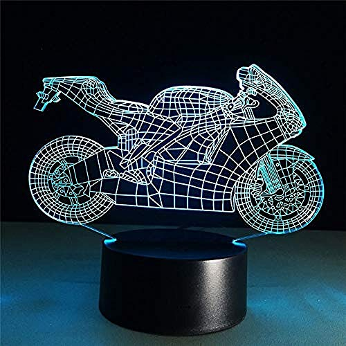 3D nachtlampje nachtlampje lamp 3D motorfiets snel en wiebelend LED Night Light Action Figuur 7 kleuren Touch Tafel Decoration Light Optische illusie
