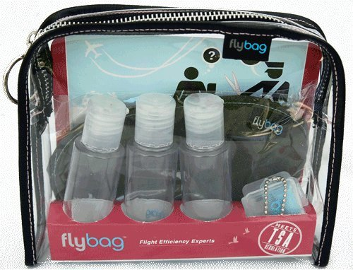 tsa toiletry bags Flybags - Clear TSA Compliant Toiletry Bag with Pink Stitching and Recyclable Insert