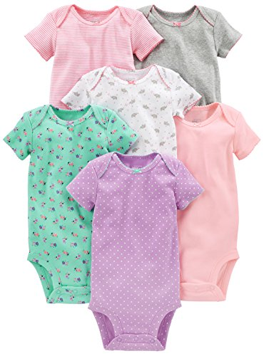 Simple Joys by Carter's Baby Girls 6-Pack Short-Sleeve Bodysuit, Pink/Grey/Mint, 12 Months