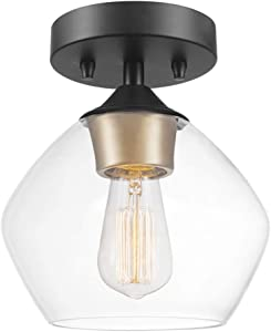 Globe Electric Harrow 1-Light Semi-Flush Mount Ceiling Light, Matte Black Finish, Gold Accent Socket, Clear Glass Shade 60333