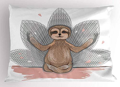 gong Sloth Little Cute Sloth Meditación Flor de Loto Yoga Asana Posiciones Motivacional Diversión Decoración Decorativa para el hogar Funda
