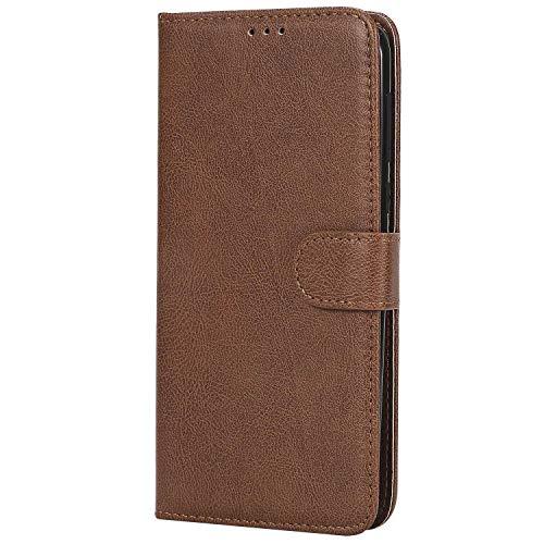 Bear Village® Hülle für Moto G6 Plus, Flip Leder Handyhülle Tasche mit Kartensfach, TPU Innere Ledertasche, 360 Grad Voll Schutz, Braun