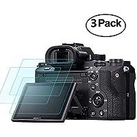 Protector de Pantalla para Sony Alpha a7RIII A7R3 A9 A7II A7RII A7SII A7R Mark II Cámara, Masstimo 3 Pack Protector de Pantalla Cristal Templado LCD Protector para A72 A7R2 A7S2 A7R Mark 2