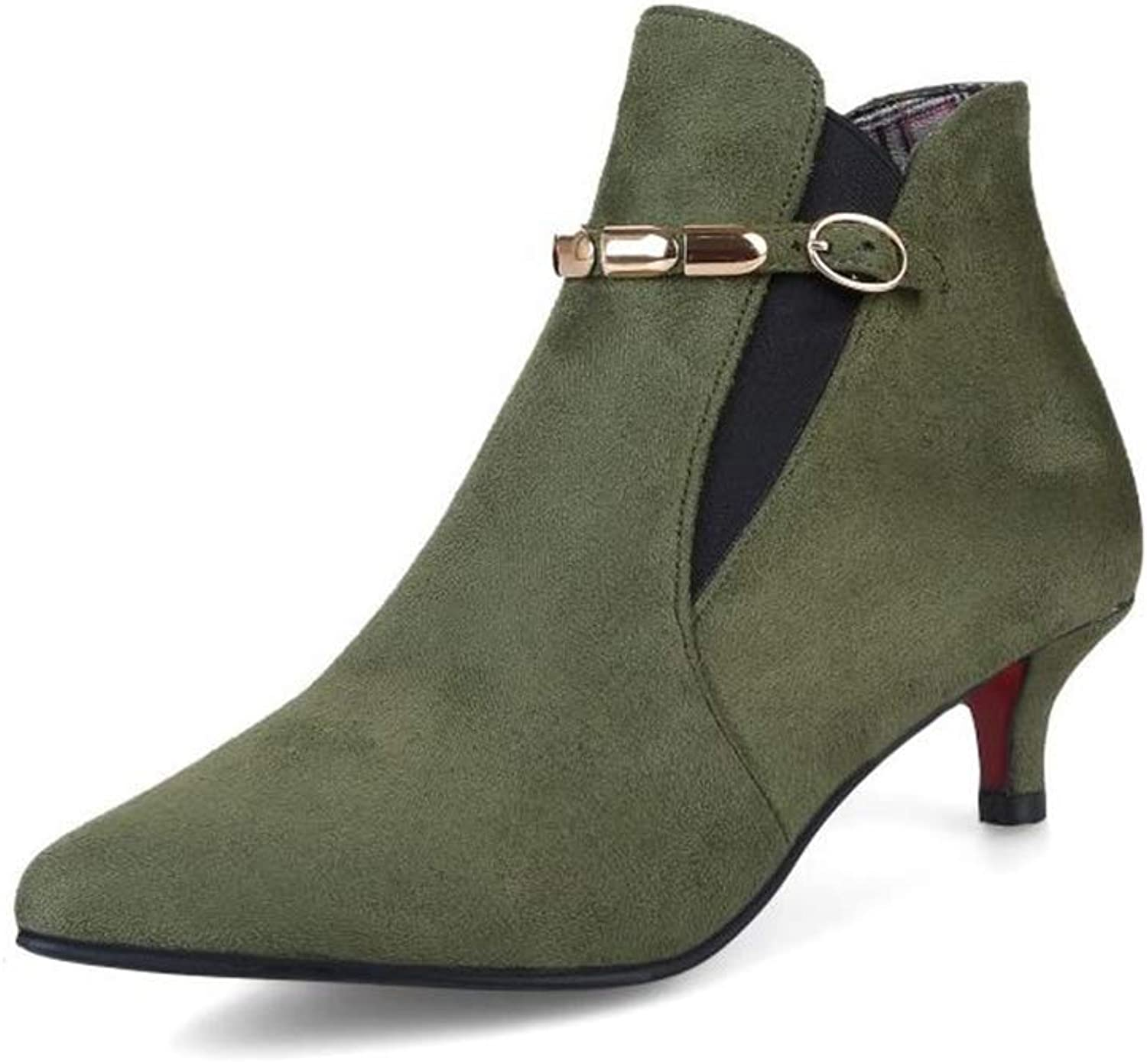 Women's Dressy Strap Buckle Pointed Toe Short Boots Stiletto High Heels Ankle Chelsea Boots
