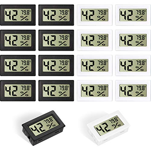 Weewooday Mini Hygrometer Thermometer Digitaler Innen Feuchtigkeitsmesser Monitor Elektronisches LCD Display Luft Feuchtigkeitstemperaturmesser für Humidore, Gewächshaus, Kühlschrank (16)