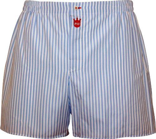 Boxershorts heren van katoen: Premium heren ondergoed Gentleman, balken strepen in Light Blue - Designer Pants, lange broekspijpen boxershorts