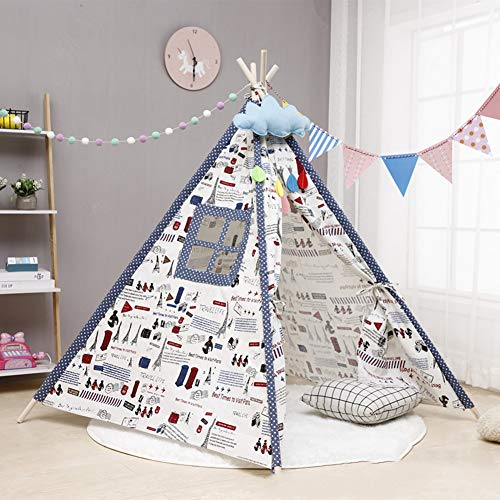 ZHONGXIN Teepee Tent, Indian Play Tent Cotton Canvas and pine wood poles Foldable Playhouse Play Tent, Indoor & Outdoor Use, 180CM (180cm,I)
