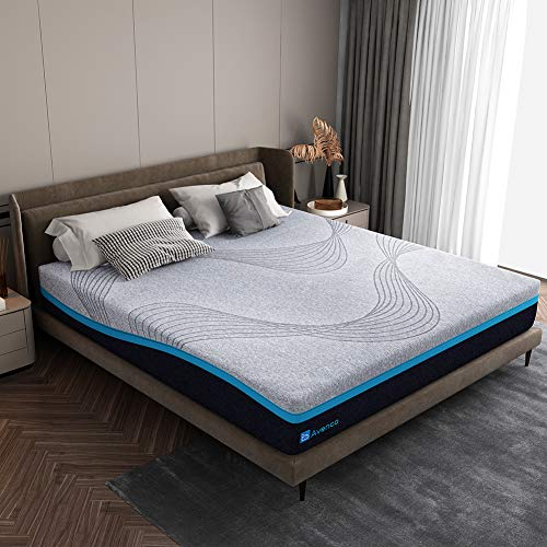 Queen Size Mattress, Avenco 10 Inch Grey Queen Mattress in a Box, Abnormal Shape Memory Foam Mattress Queen with a Washable Cover, Comfortable and Supportive