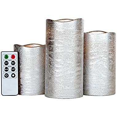 Lily's Home Everlasting Flameless LED Candles, With Remote and Timer, Set of 3 Candles - Silver