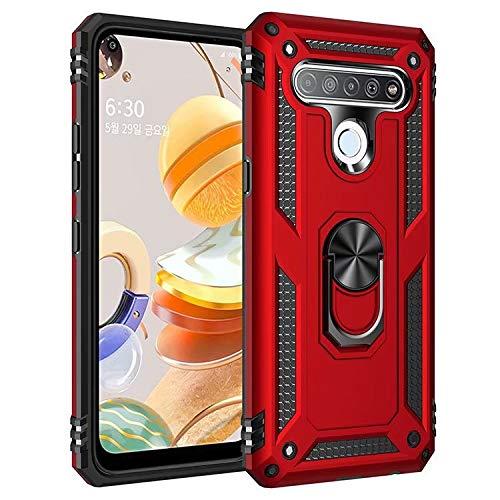 JIAFEI Hülle Kompatibel mit LG K61, Dual Layer Silica TPU + PC Harter Handyhülle Mit Ständer, Rot