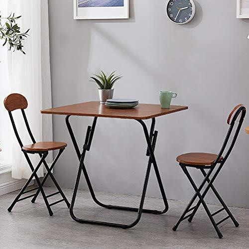 Zhyaj Juego De Muebles De Jardín/Juegos De Muebles De Patio - Mesa De Comedor Plegable Y 2 Sillas,Marrón,80cm Square Table