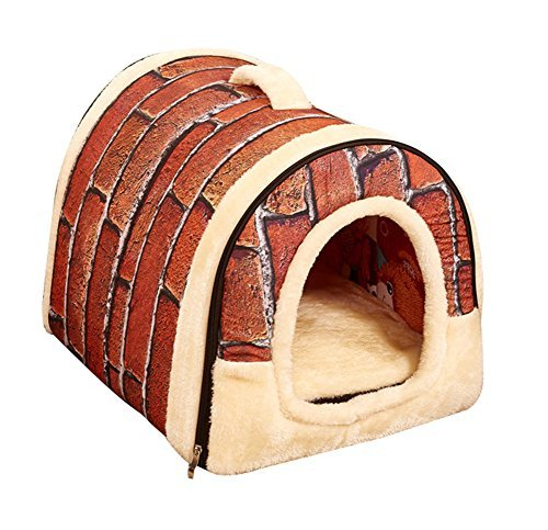 Freerun Portable Soft Sided Plush Pillowed Indoor Small Dog or Cat Convertible Pet House / Bed - Brick, L