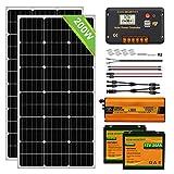 ECO-WORTHY 200 Watt 0.8kwh / día (2pcs 100 W) Panel solar mono fuera de la red Kit completo de barco RV con controlador de carga LCD + Cable solar + Soportes de montaje + Batería de litio + Inversor