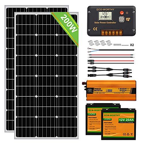 ECO-WORTHY 200 Watt 0.8kwh / día (2pcs 100 W) Panel solar mono fuera de la red Kit completo