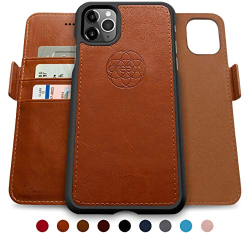 Dreem Fibonacci 2-in-1 Wallet-Case for iPhone 11 Pro Max, Magnetic Detachable Shock-Proof TPU Slim-Case, Wireless Charging OK, RFID Protection, 2-Way Stand, Luxury Vegan Leather, Gift-Box - Caramel