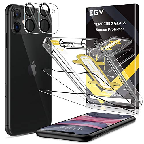 EGV [4 Pack] Tempered Glass Protector for iPhone 11(6.1''), [2 Pack] Screen Protector + [2 Pack] Camera Lens Protector, [Easy Installation Tray] Anti-Scratch, HD Ultra-Thin