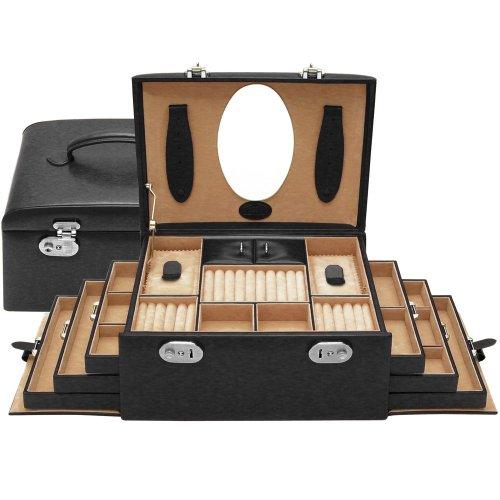 Windrose Merino Schmuckkoffer 4 Etagen 29 cm schwarz