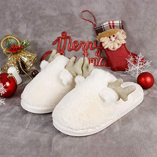 QLIGHA Zapatillas de Invierno Zapatillas de Navidad, Zapatillas de algodón de Invierno, Zapatillas peludas para Mujer Zapatillas de Animales Antideslizantes con Espuma viscoelástica Señoras, Blanco