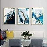 Generic Abstrakte Farbe Splash Blau Gold Leinwand Malerei