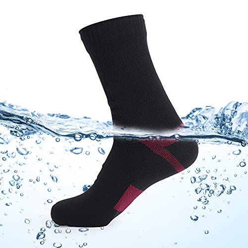 Waterproof socks for Men Women,For outdoor activities 100% waterproof breathable windproof - Perfect for Cycling, Hiking, Golf, Rowing, Fishing,Trekking Skiing Tracing Socks etc out sports (Red, m)
