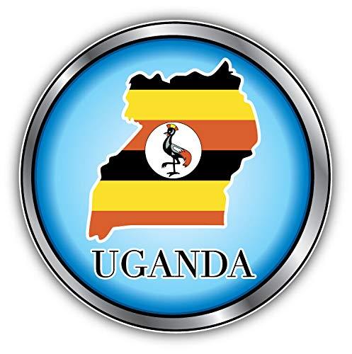 Tamengi Uganda Map Flag Silver Medal Car Bumper Sticker Decal 5 '' x 5 ''