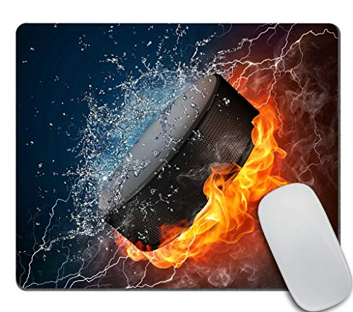 Amcove Flaming Hockey Puck Fire and Water Mousepad Non-Slip Rubber Gaming Mouse Pad Rectangle Mouse Pads for Computers Laptop