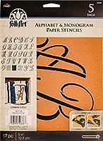 Plaid PLA50336 Stencil Folk-Art Paper Alphabet & Monogram Script, 13cm